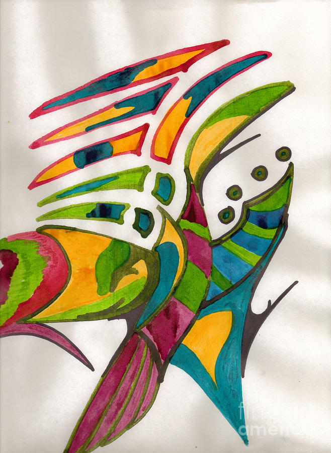 Indian Drawing - Fish Fins by Mary Mikawoz
