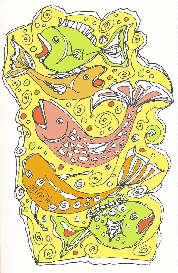 Fish Drawing - Fish Fish by Linda Kay Thomas