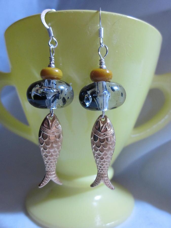 Handmade Lampwork Beads Jewelry - Fish Food Earrings by Janet  Telander