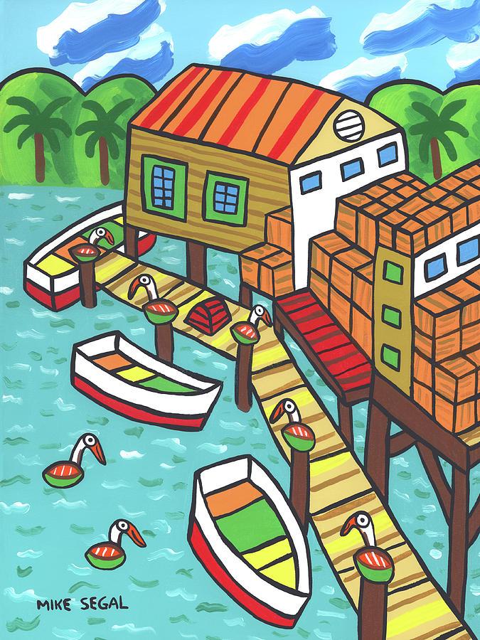 Cedar Key Painting - Fish House-cedar Key by Mike Segal