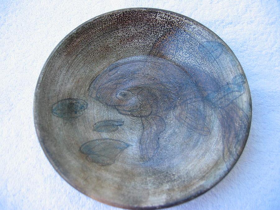 Throw Ceramic Art - Fish -in -a -pond Plate by Julia Van Dine