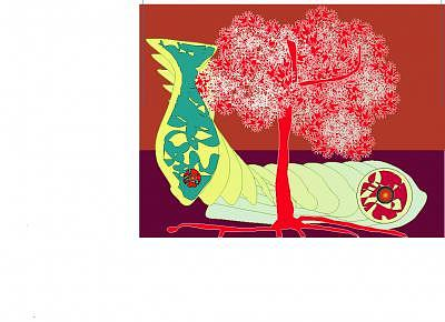 Fish Digital Art - Fish In A Red Tree by Shirley Sacks