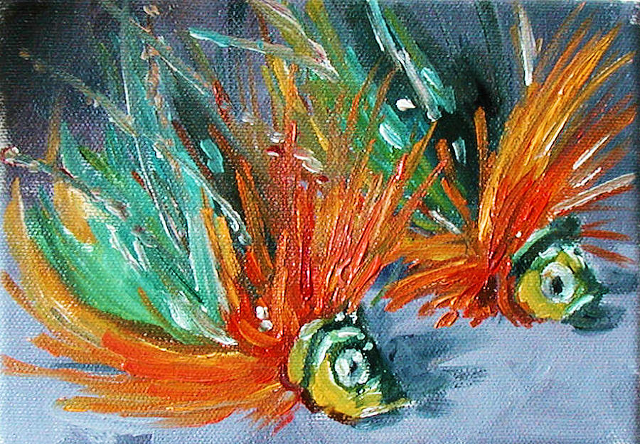 Fishing Lure Painting - Fish Lures by Kathy Busillo