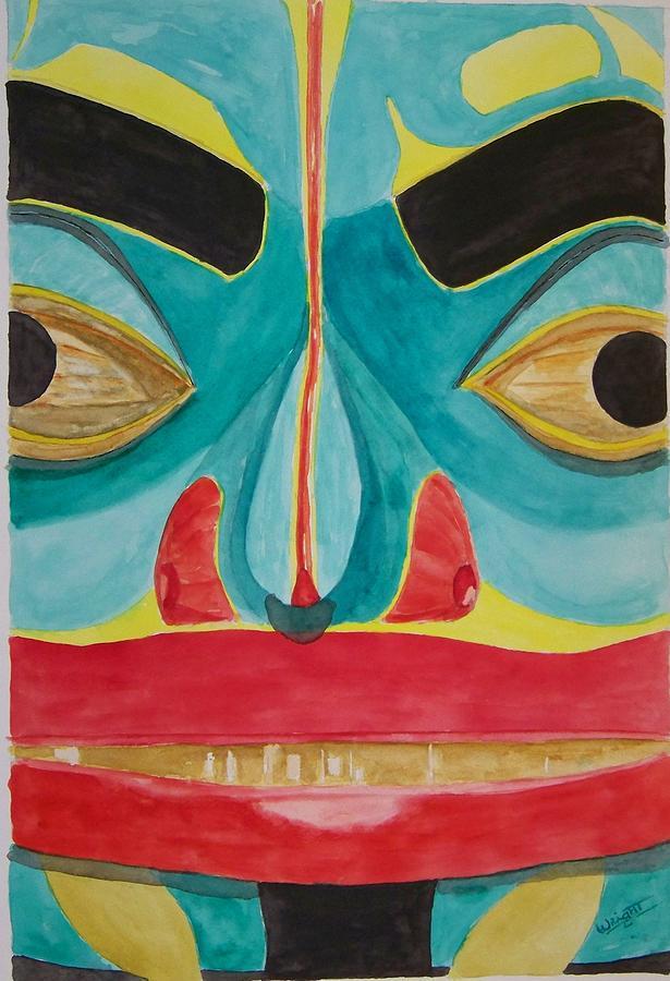 Alaska Totem Painting - Fish Man by Larry Wright