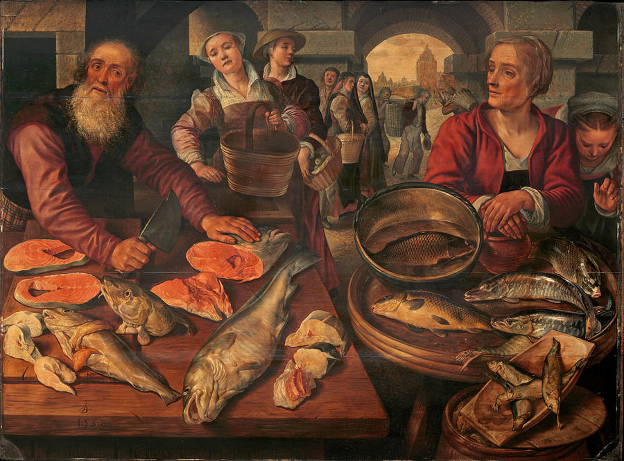 Fish Market Painting By Joachim Beuckelaer