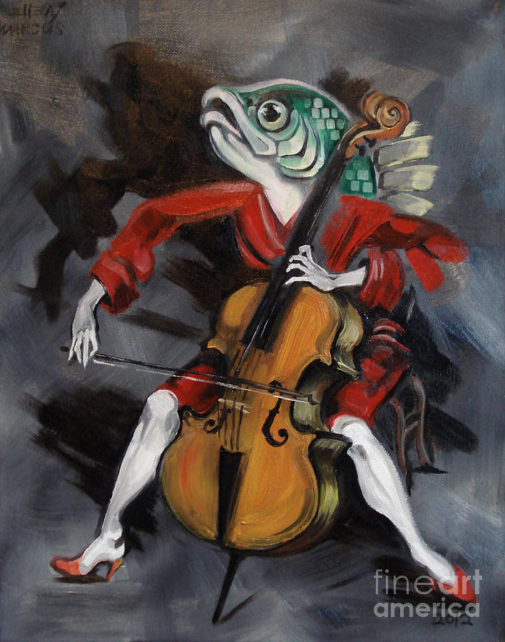 Pastiche Painting - Fish Playing Cello by Ellen Marcus
