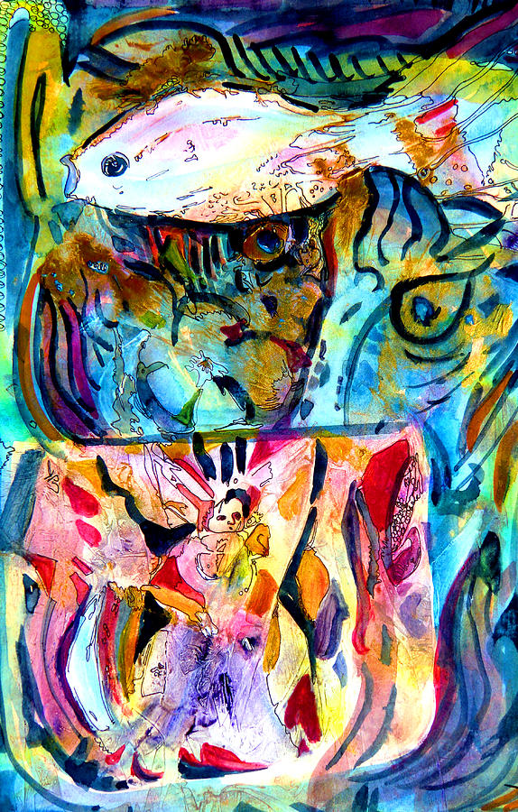 Acrylic Painting - Fish Pot by Mindy Newman