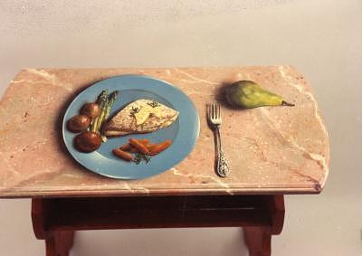 Trompe L'oeil Mixed Media - Fish Table by Lauren Cole Abrams