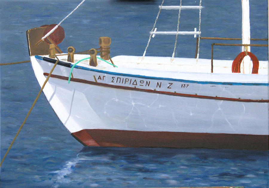 Marine Painting - Fishboat In Greece by Lefevre Michel