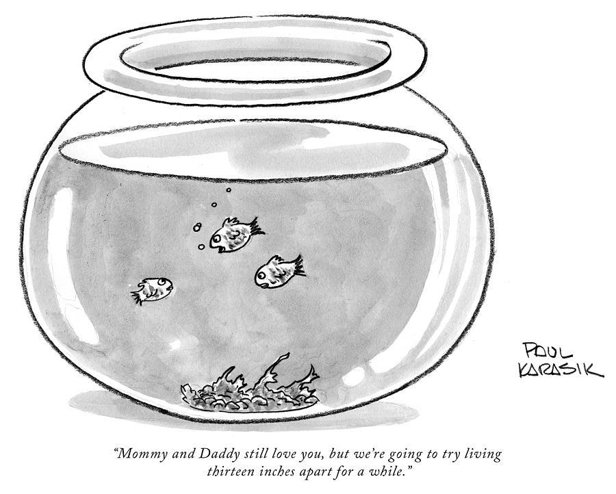 Fishbowl Mommy and Daddy Still Love You Drawing by Paul Karasik