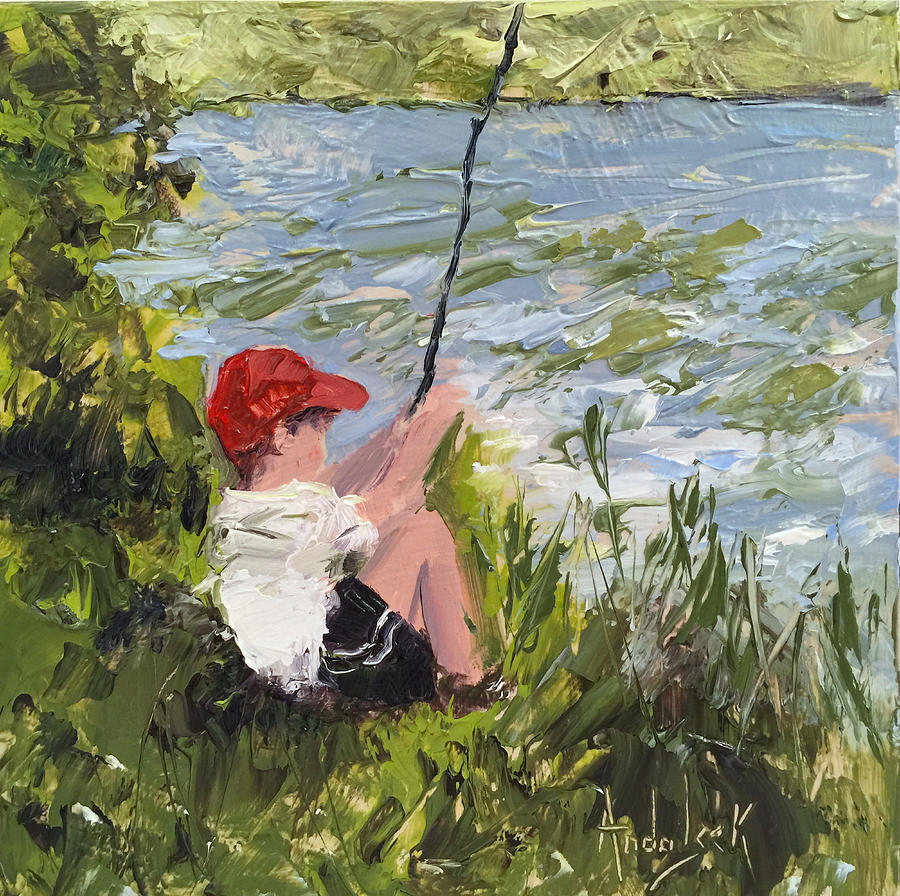 Fishing Painting - Fisher Boy by Barbara Andolsek