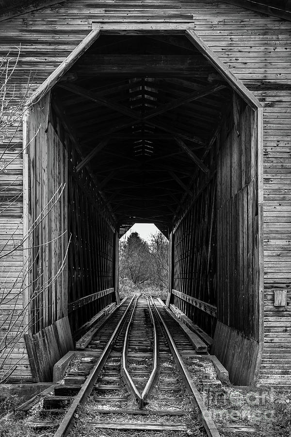 Fisher Covered Railroad Bridge Black and White by Edward Fielding