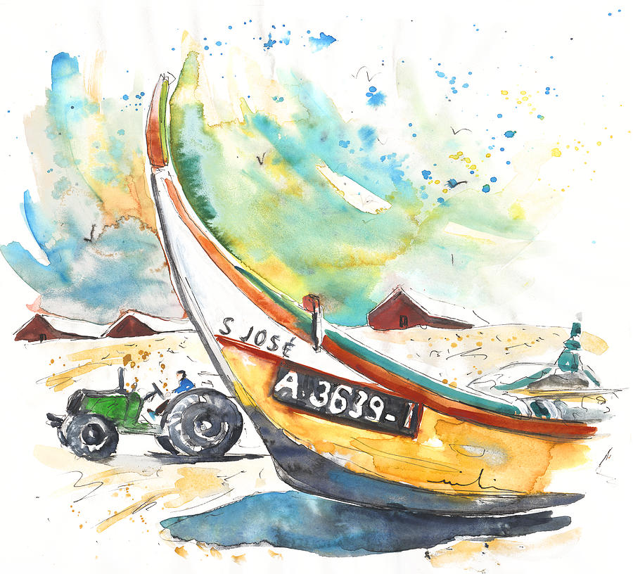 Portugal Painting - Fisherboat In Praia De Mira by Miki De Goodaboom