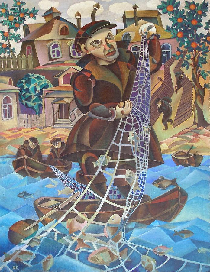 Avant-garde Painting - Fisherman by Andrey Soldatenko