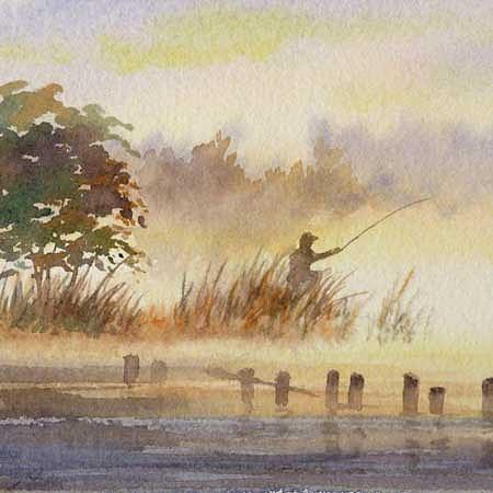 Fisherman Painting - Fisherman At Dawn by Varvara Harmon