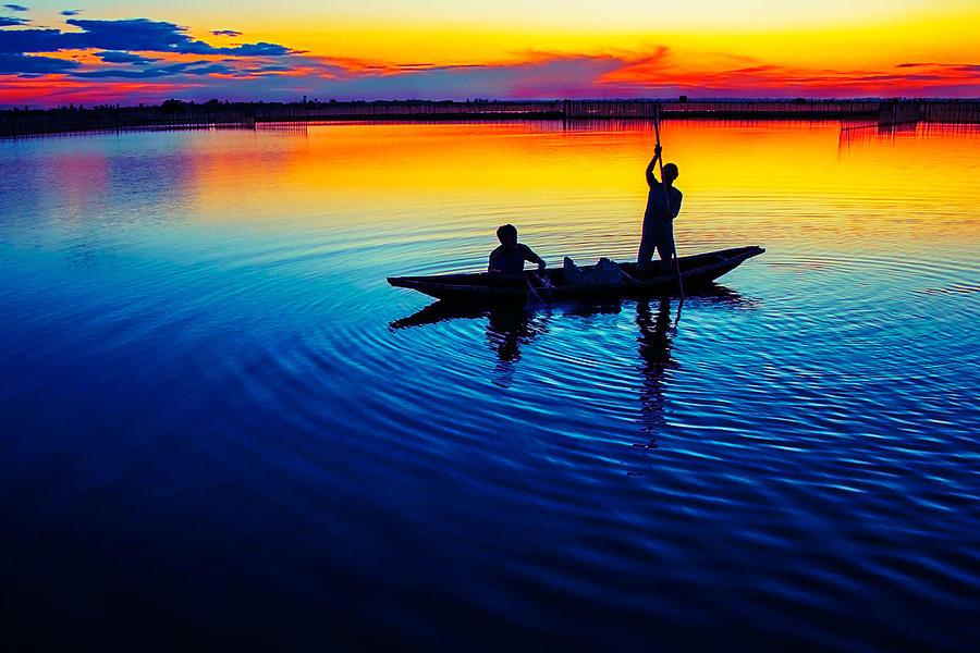 Fisherman Photograph - Fisherman Boat On Summer Sunset, Travel Photo Poster by Long Shot