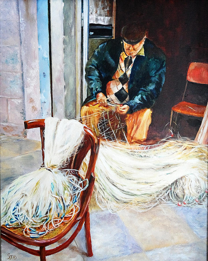 Bari Painting - Fisherman checking his nets by Steve James