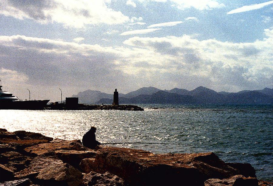 Fisherman Photograph - Fisherman In Nice France by Nancy Mueller