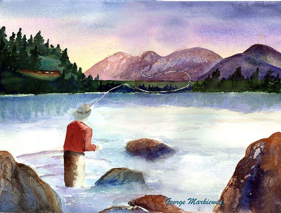 Fisherman In The Morning Print by George Markiewicz
