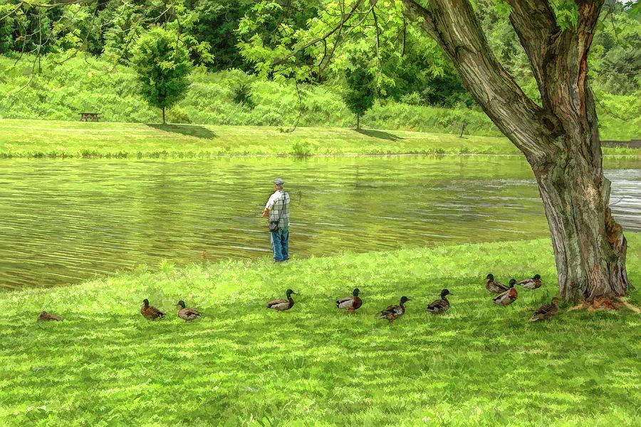 Fisherman Digital Art - Fisherman Lazy Day At The Lake by Randy Steele