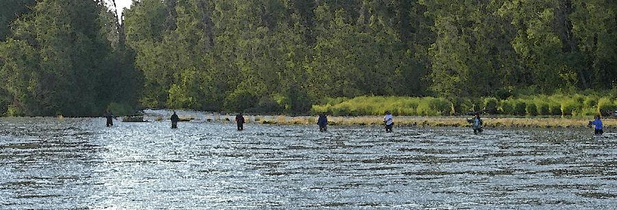 Fishing Digital Art - Fisherman Lineup Kenai River by Mary Gaines