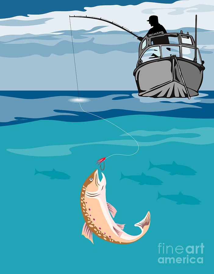 Fly Fisherman Digital Art - Fisherman On Boat Trout  by Aloysius Patrimonio