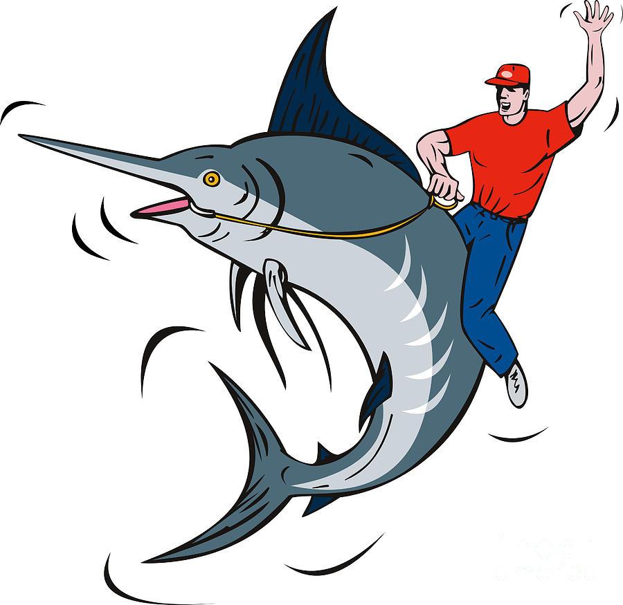 Blue Marlin Digital Art - Fisherman Riding Marlin by Aloysius Patrimonio