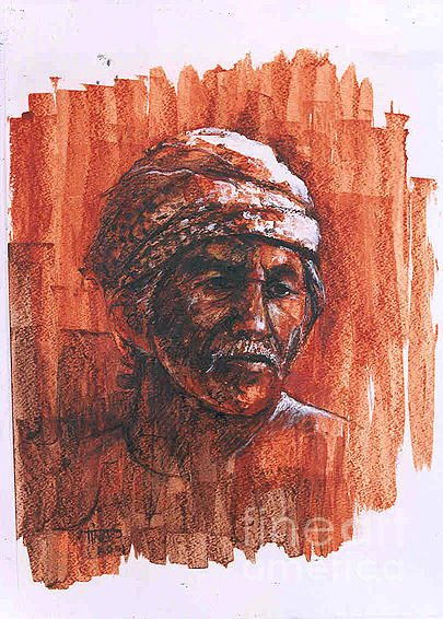 Portrait Painting - Fisherman by Tina Siddiqui