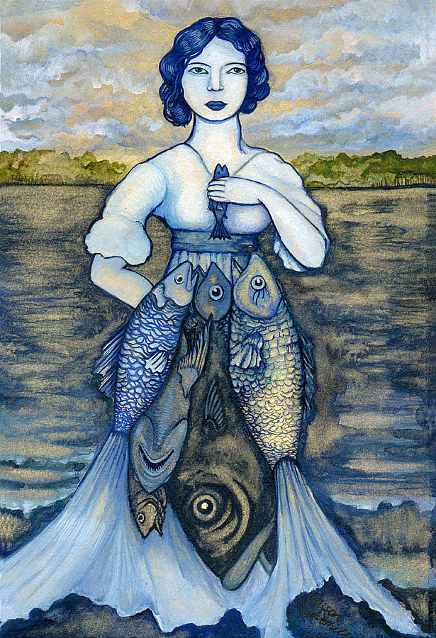 Girl Painting - Fishermans Daughter by Allison Agostinelli