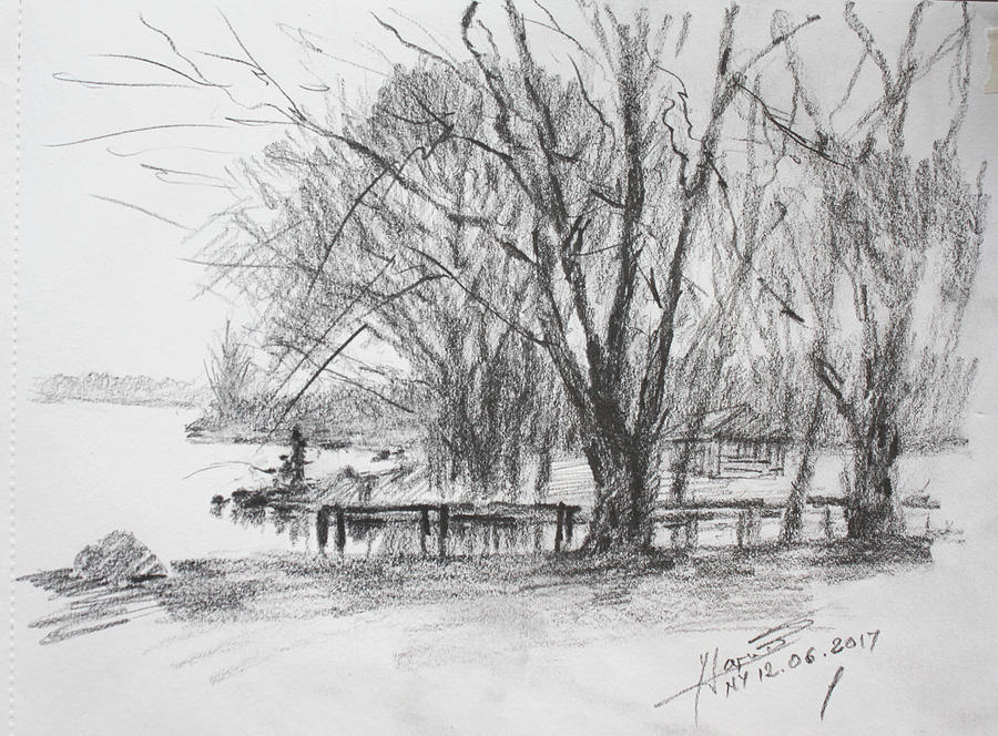 Landscape Drawing - Fishermans Park by Ylli Haruni