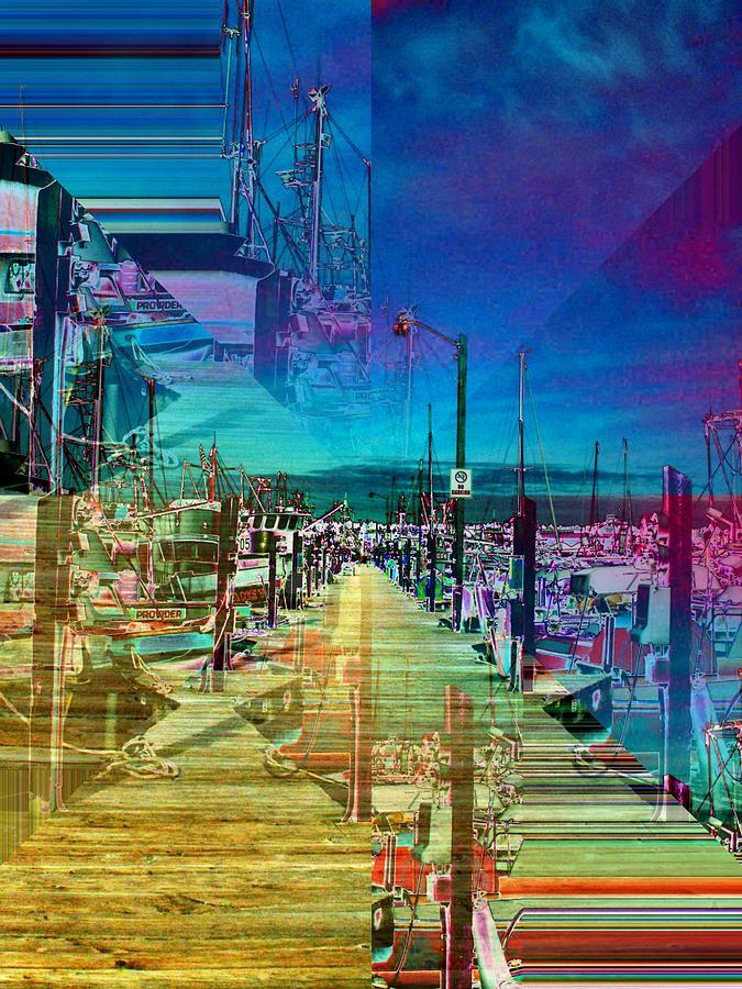 Seattle Digital Art - Fishermans Terminal Pier 2 by Tim Allen