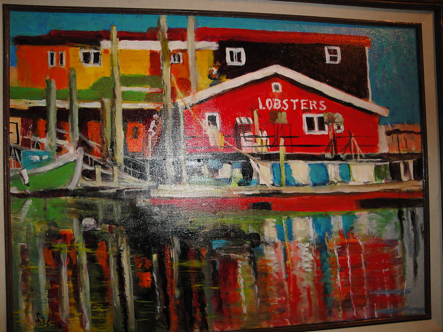 Lobster Painting - Fishermans Wharf by Les Smith