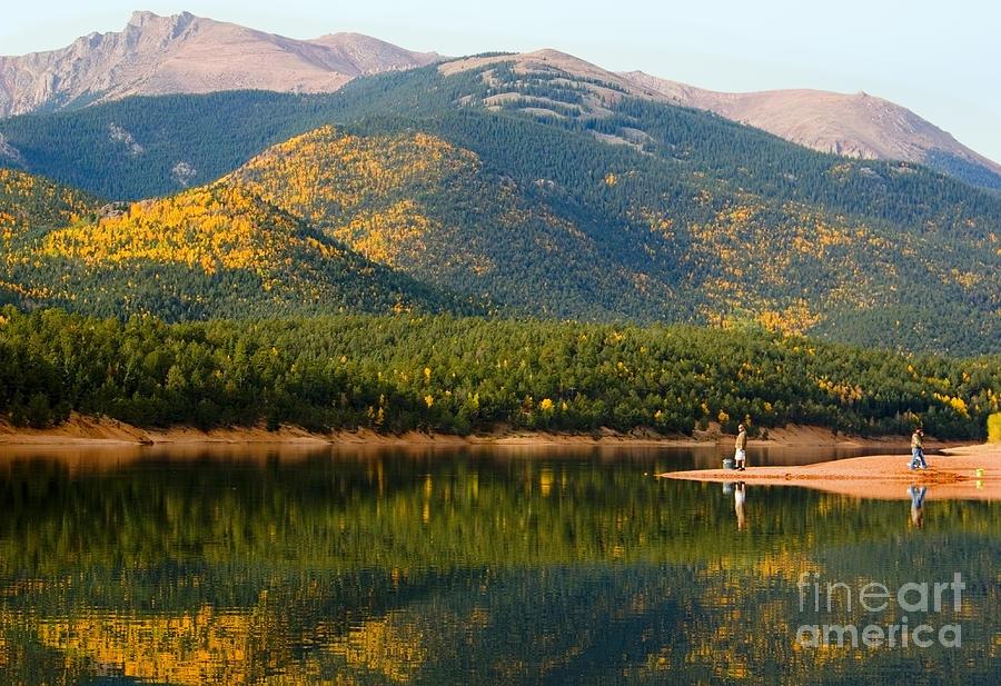 Fishermen And Autumn Aspen At Crystal Creek Reservoir Pikes Peak Photograph