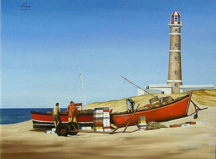 Fishermen By Lighthouse Painting by Natalia Tejera