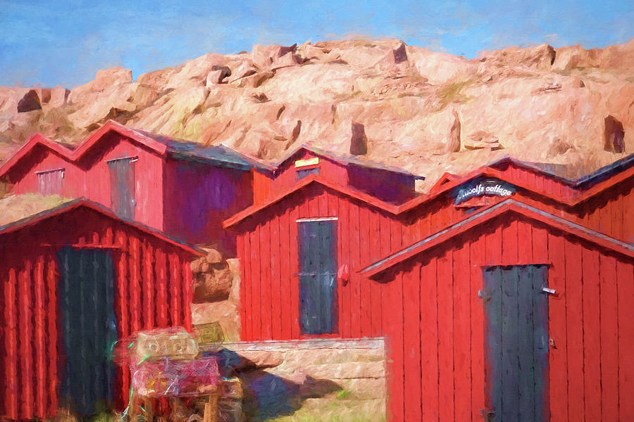 Cottages Painting - Fishermen Cottages by Lutz Baar