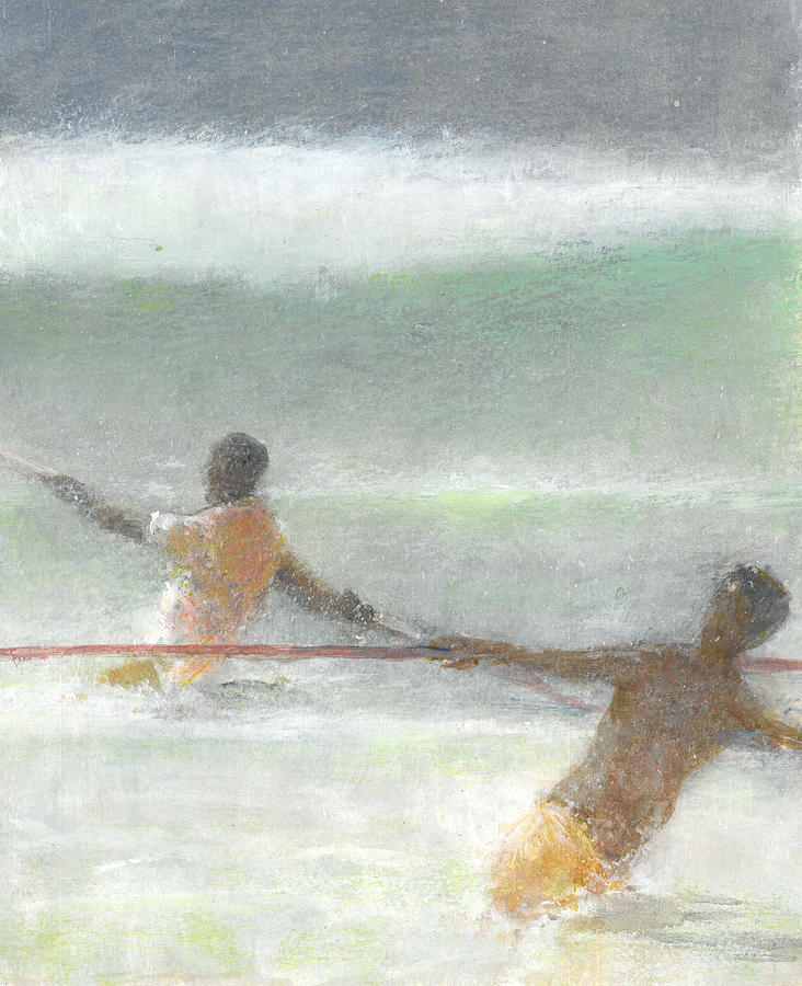 Fishing Painting - Fishermen Hauling Nets by Lincoln Seligman