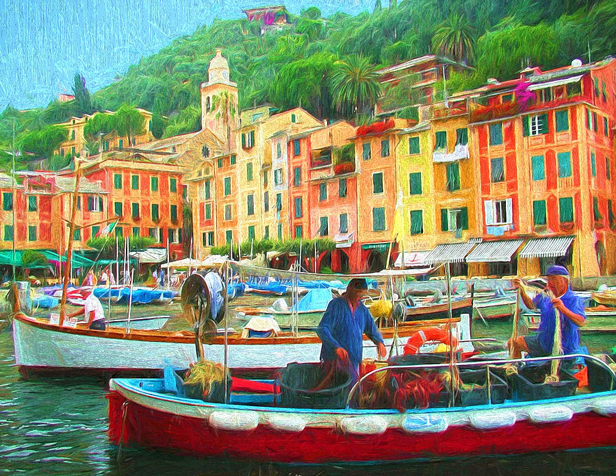 Fishermen in Portofino by Mitchell R Grosky