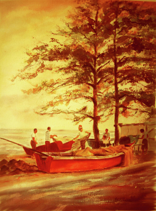 Watercolor Paintings Painting - Fishermens Sunset by Estela Robles
