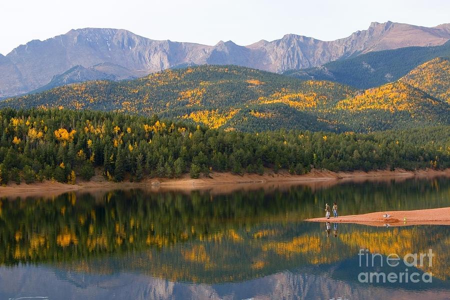 Fishermen In Autumn Aspen At Crystal Creek Reservoir Photograph