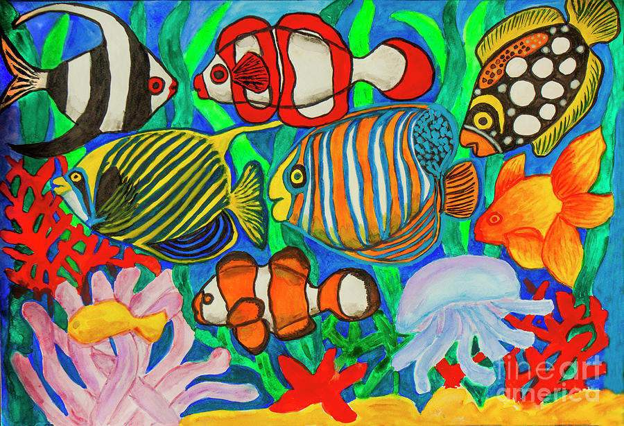 Fishes, watercolor painting by Irina Afonskaya