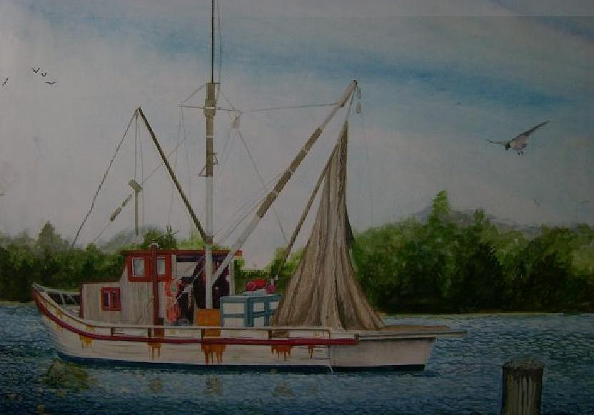 Boat Painting - Fishin Boat by Tabitha Marshall