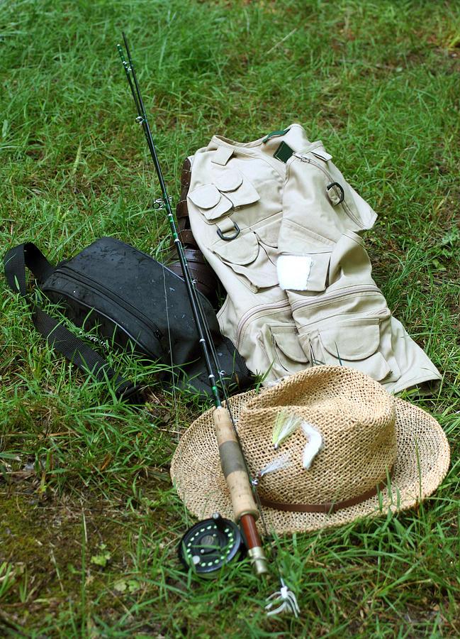 Straw Hat Photograph - Fishin Gear by Linda A Waterhouse