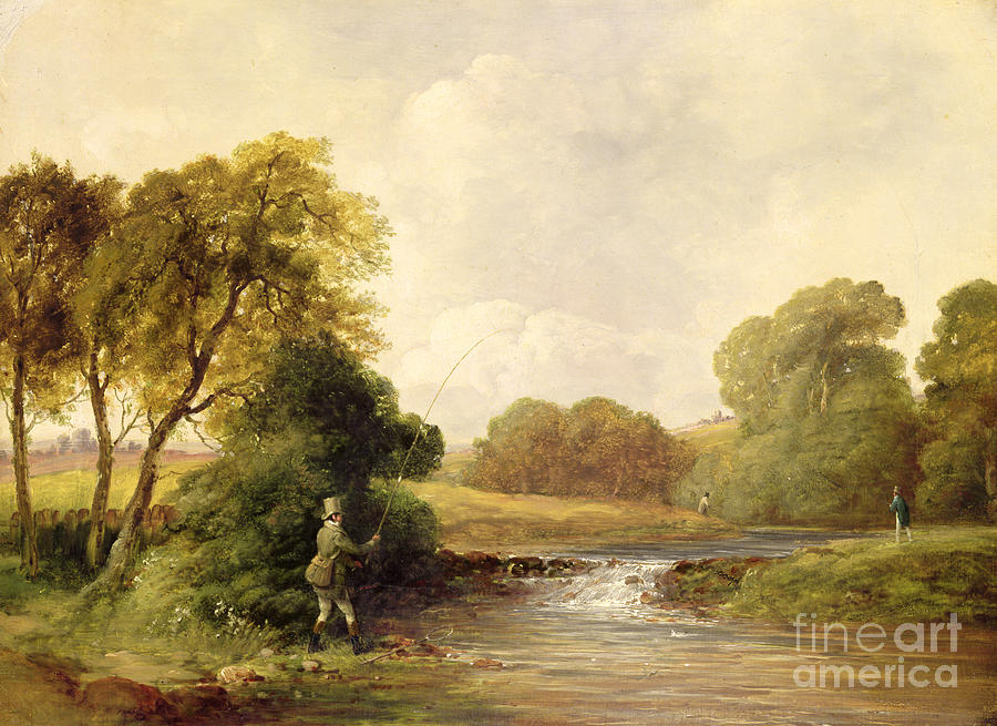 Fishing Painting - Fishing - Playing A Fish by William E Jones