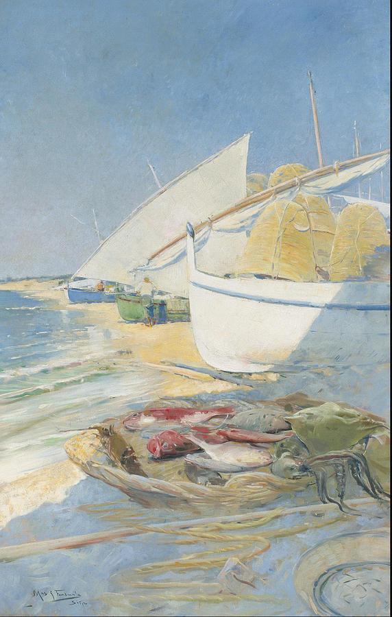 Angler Painting - Fishing 1895 by Arcadi Mas I Fondevila