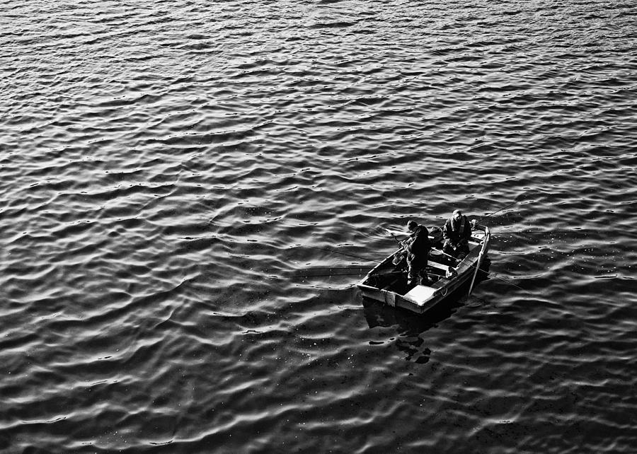 Monochrome Photograph - Fishing by Adrian Pym
