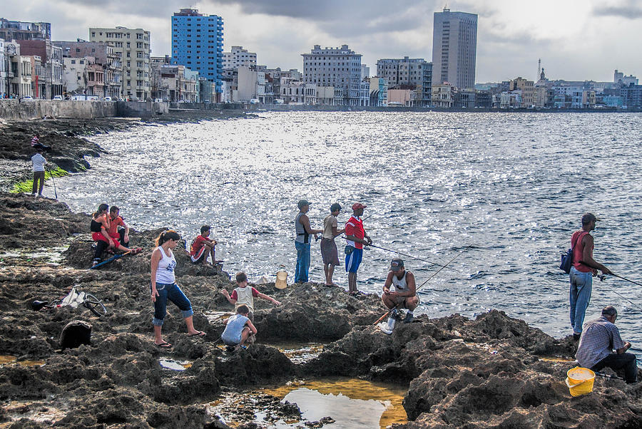 Fishing Along The Malecon Photograph by Marie Schleich