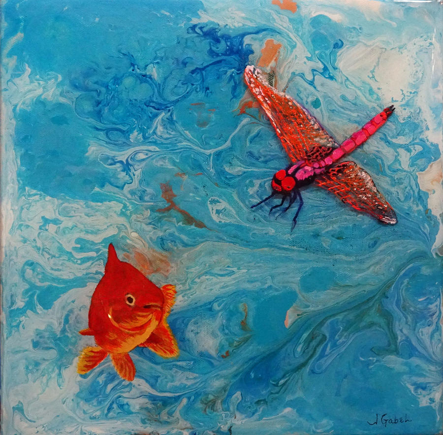 Oil Painting - Fishing Around by Laura Gabel