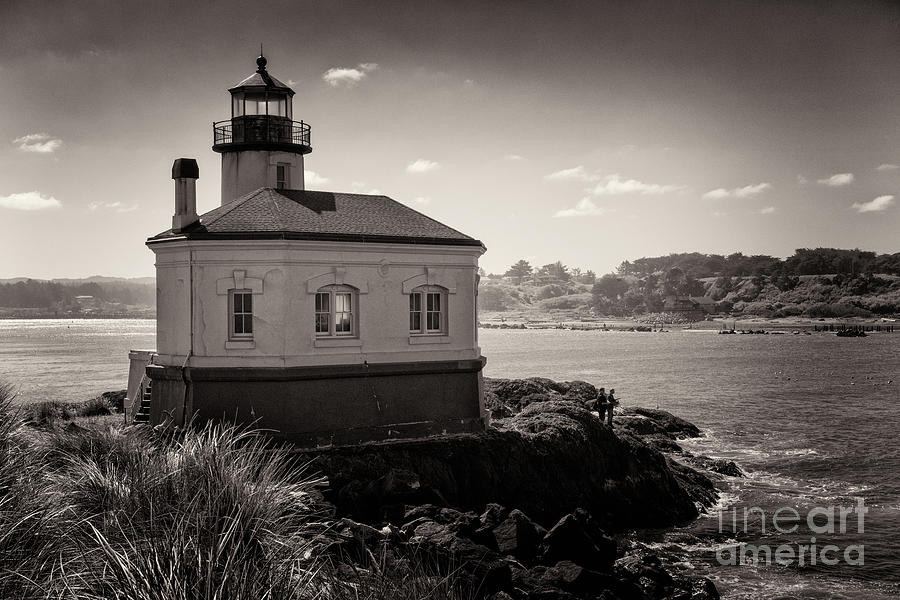 Fishing At Coquille River Lighthouse Toned by Al Andersen