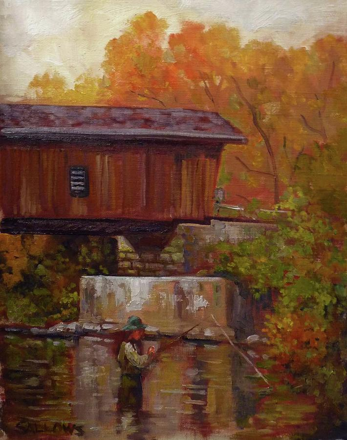 Fisherman Painting - Fishing at Creek Road Bridge by Nora Sallows