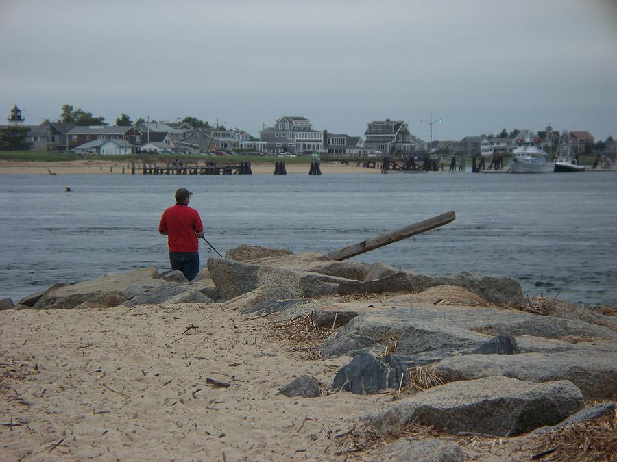 Seascape Photograph - fishing at Salisbury Beach, Ma. by Rosanne Bartlett